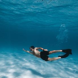 Guy snorkeling in the Virgin Islands