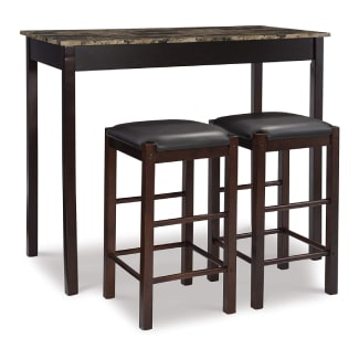 Linon Brown 3-Piece Table Faux Marble Tavern Set