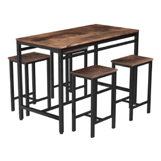 MIERES Dining Table Set for 4 Metal Legs Stools Industrial Kitchen Counter