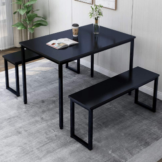 Rhomtree 3 Pieces Dining Set Table with 2 Benches