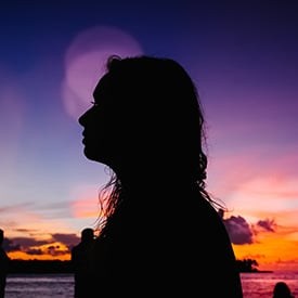 Woman at sunset in key west