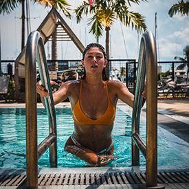 Woman in bikini in key west