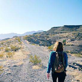 Woman walking on trail in Texas