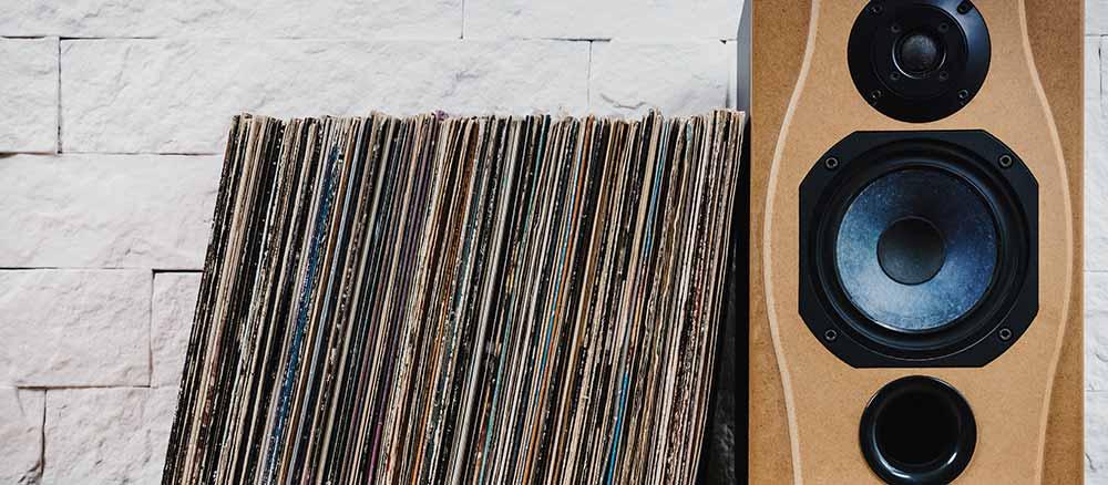 bookshelf speaker with records