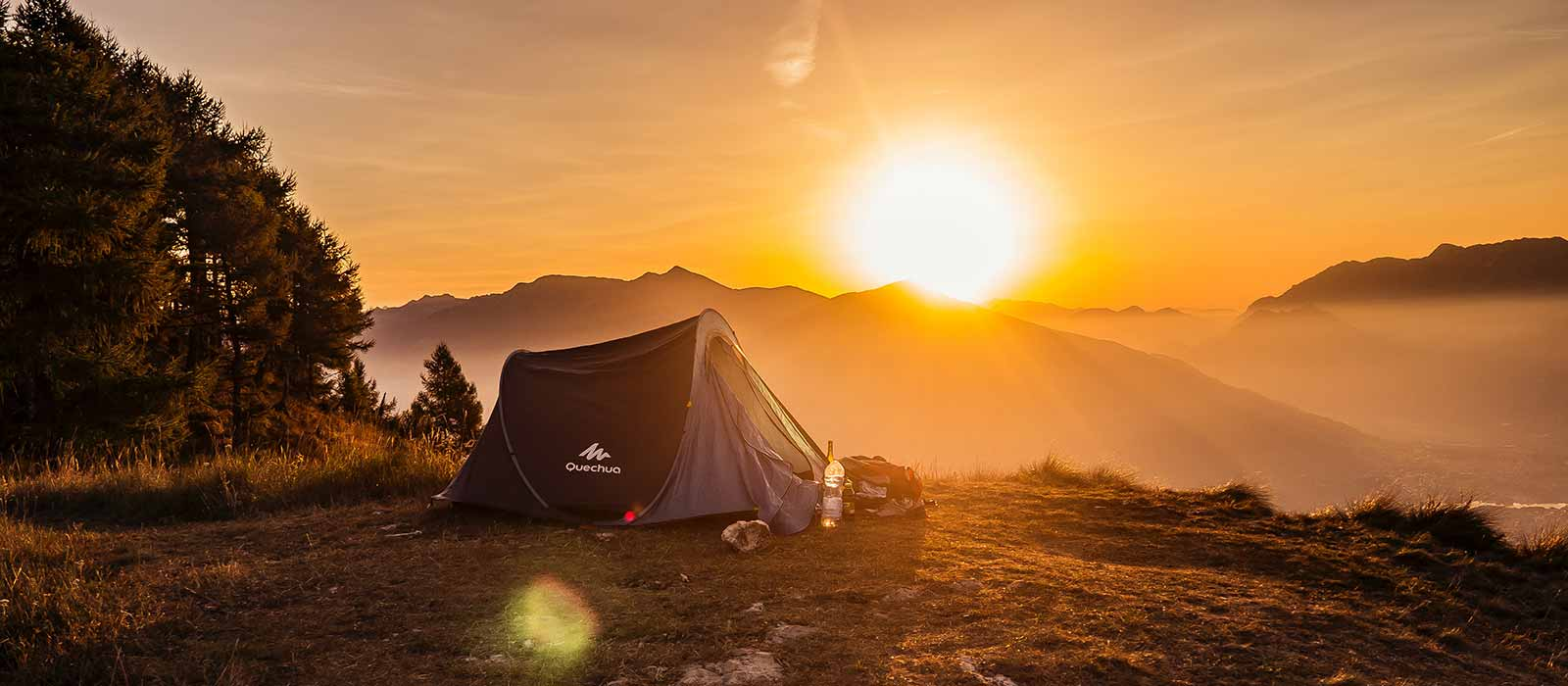 camping tent with sunrise