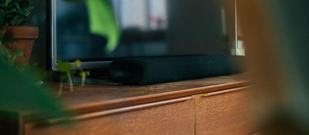 soundbar in front of TV