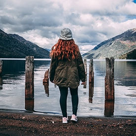 woman by lake in Argentina