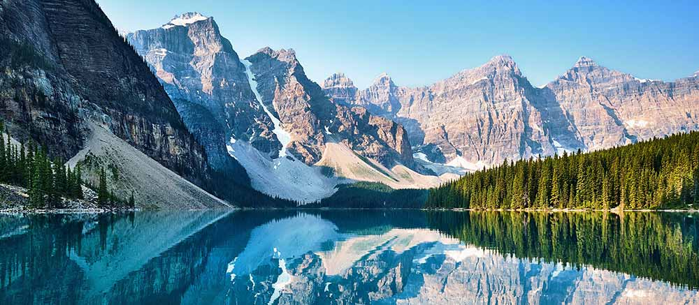 Canadian mountains reflected in a lake