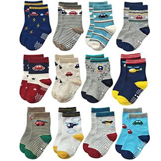 Anti-slip Crew Socks with Grips  (Multiple Colors)