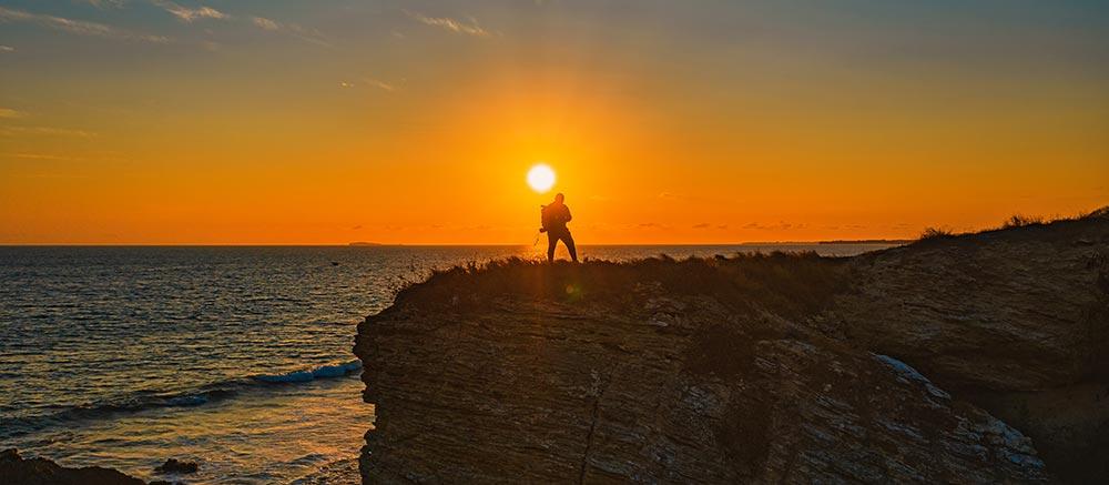 Man in puerto vallerta sunset