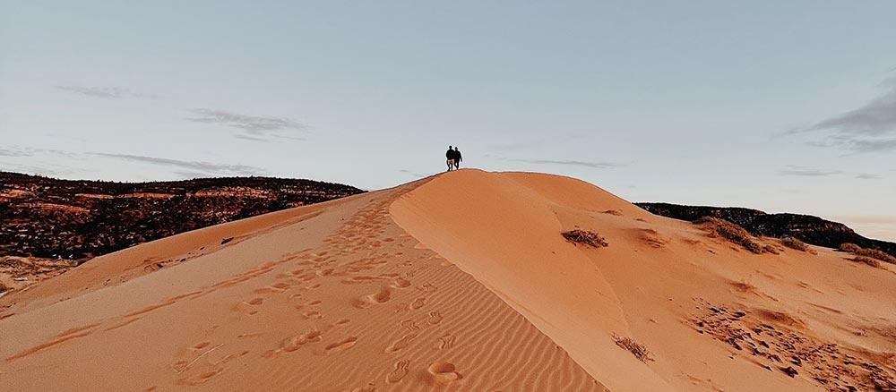 People walking in a desert