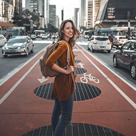 Woman from hostel walking in the street
