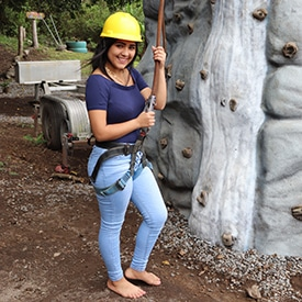 woman rock climbing in Panama