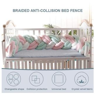 Cot Bumper Braid Pillow Baby Head Guard Bumper Knot Braid Pillow Cushion for Baby Bed
