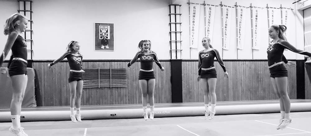 Girls at cheerleading camp
