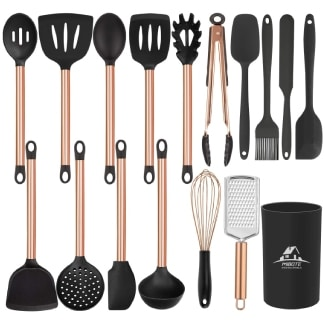 Silicone Cooking Kitchen Utensils Set with Stainless Steel Handle