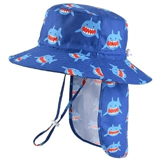 Unisex Baby Sun Hat with Removable Neck Flap - Adjustable Toddler Kids UPF50+ Summer Bucket