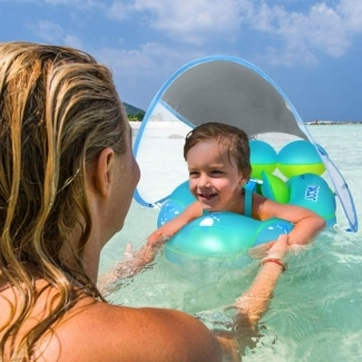 LAYCOL Baby Swimming Pool Float with Removeable UPF 50+ Sun Protection