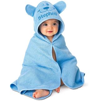 Lillian Vernon Personalized Baby Blue Bear Hooded Animal Beach Towel