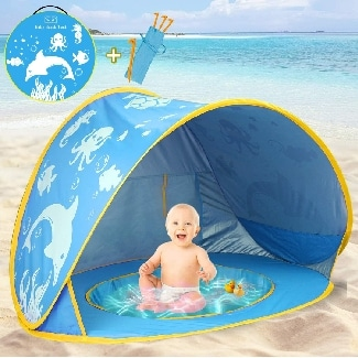 TURNMEON Baby Beach Tent with Pool