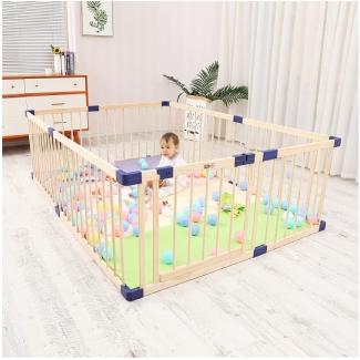 Kids Baby Toddler Playpen Indoor Portable Wooden Freestanding