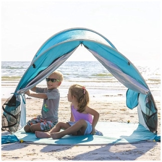 WolfWise UPF 50+ Easy Pop Up 3-4 Person Beach Tent