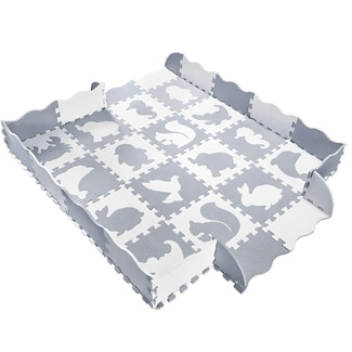Baby Play Mat with Fence Animals and Foam Tiles by Wonder Bebe
