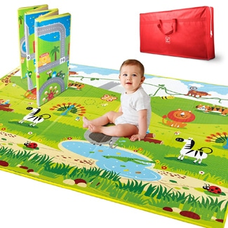 Hape E8372 5 x 5-Foot Large 2 Sided Reversible and Jungle Baby Activity Foam Foldable Play Mat