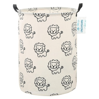 LANGYASHAN Lion Canvas Fabric Collapsible Baby Laundry Hamper