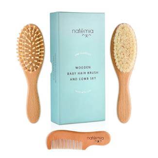 Natemia Premium Wooden Baby Hair Brush and Comb Set