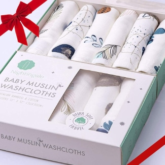 Nightingale Muslin Bamboo Baby Washcloths