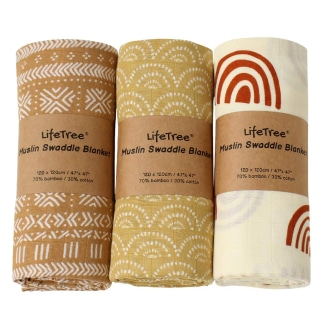 LifeTree 3 Pack Baby Swaddle Blankets