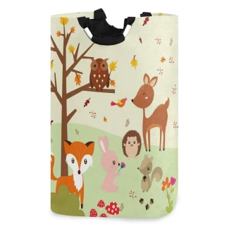 senya Forest Fox with Owls Large Storage Basket Collapsible Organizer Bin Laundry Hamper
