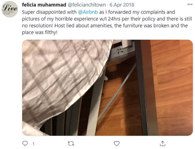 Airbnb Missing, Broken, Unsafe Furniture