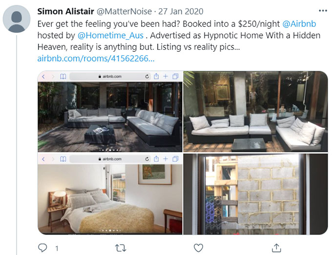 Airbnb Otherwise Not as Expected, Described
