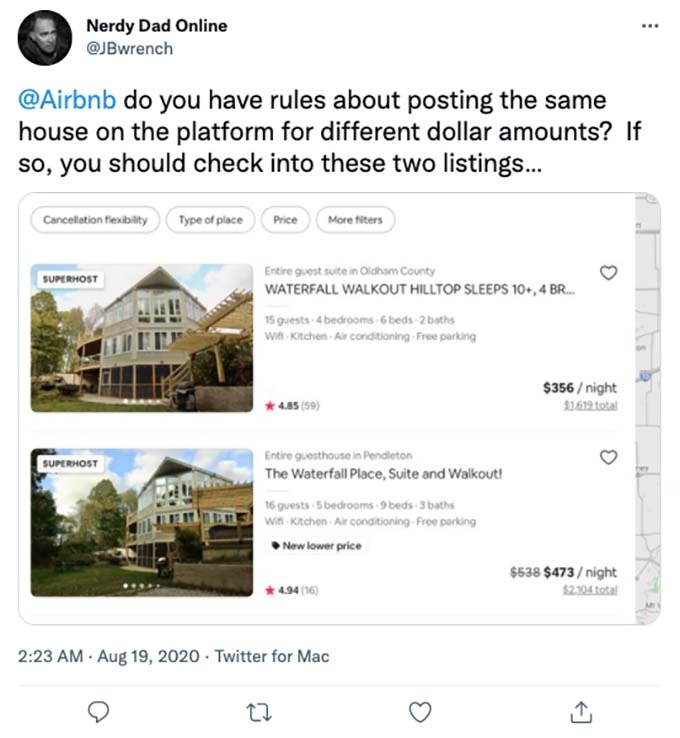 multiple listings at airbnb