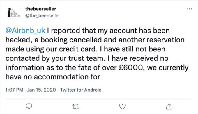 airbnb account hacked for £6,000
