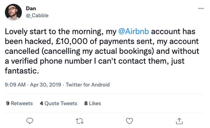 airbnb account hacked for £10,000