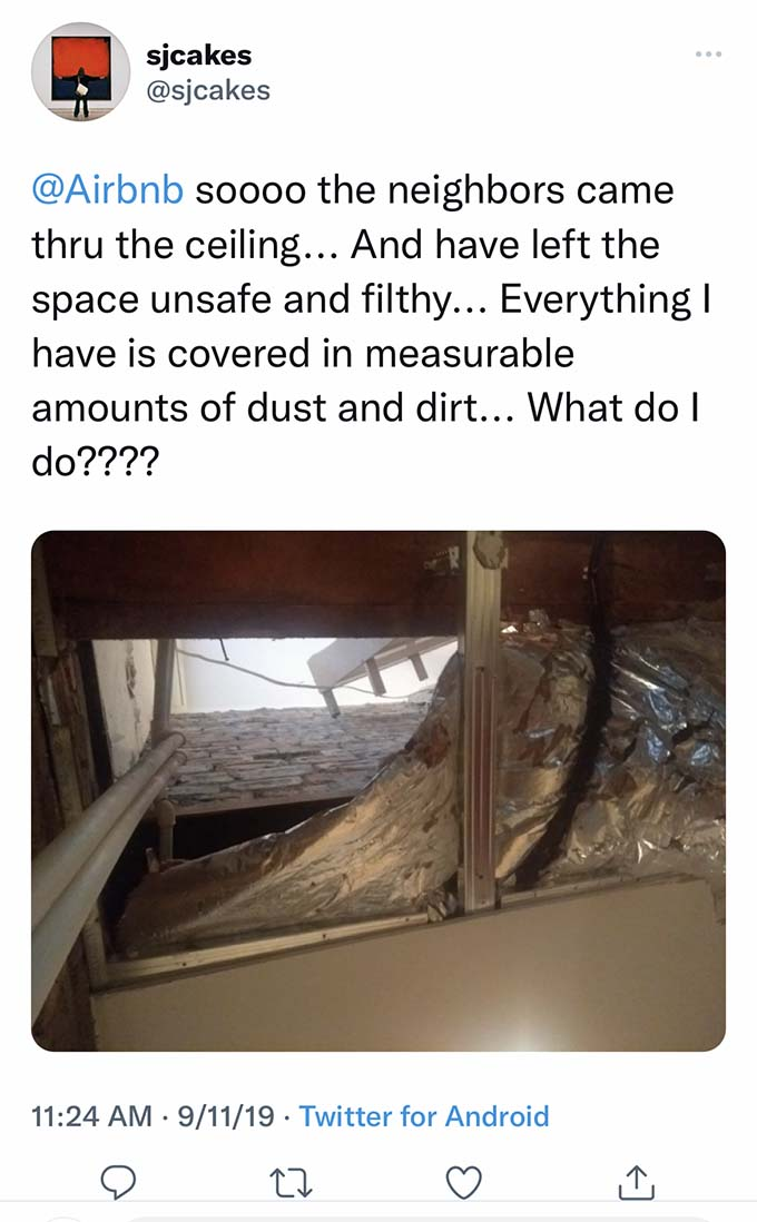 airbnb neighbors fall through ceiling
