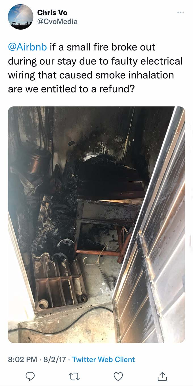 airbnb fire