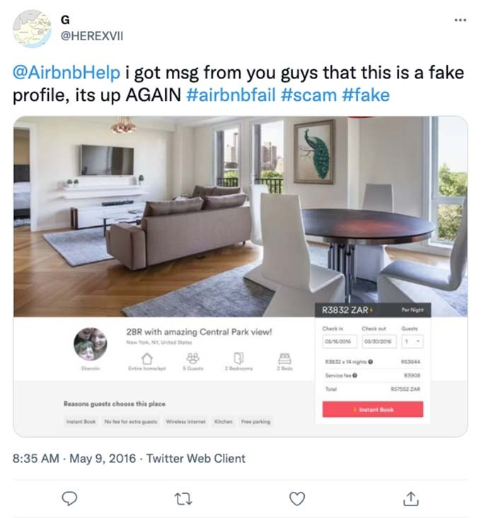 airbnb scam listing
