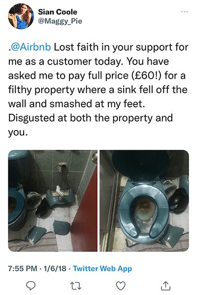 broken toilet at airbnb