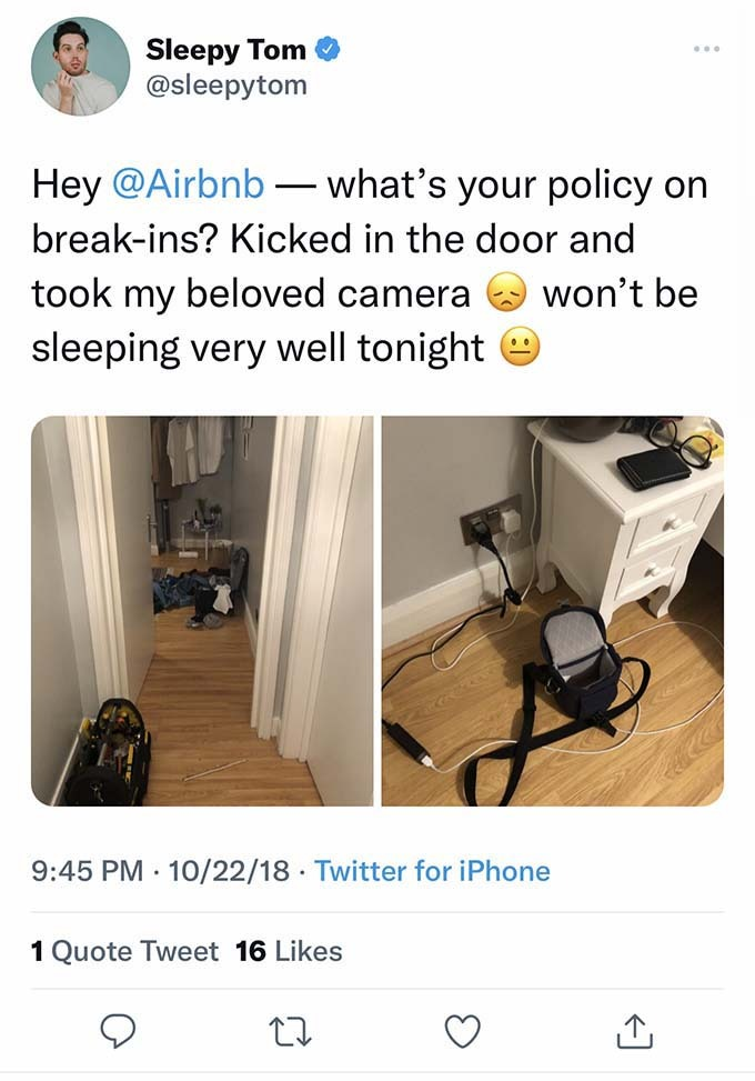 breaking and entering at airbnb
