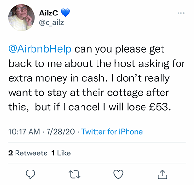 airbnb host asking for extra cash