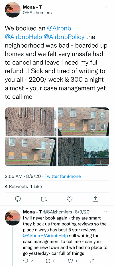 airbnb in unsafe neighborhood