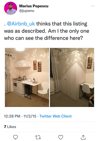 airbnb listing not same as pictures