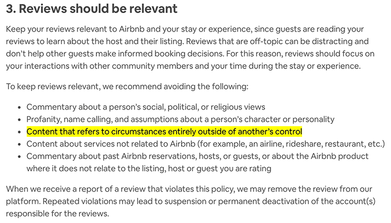 airbnb review policy