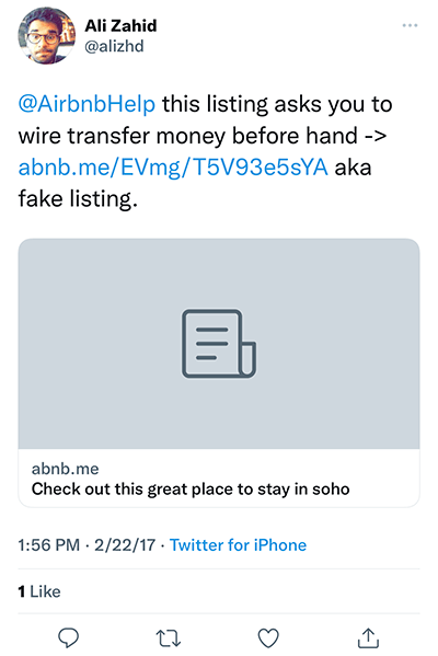 fake airbnb property