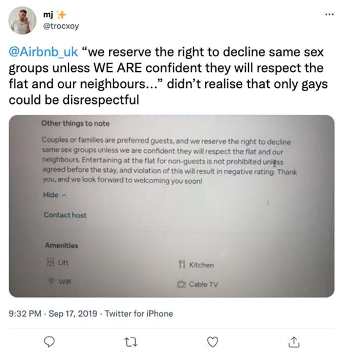 lgbtq discrimination at airbnb