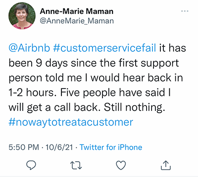 no response from Airbnb after 9 days